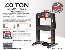 40 ton shop press specifications